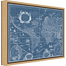 Amanti Art Blueprint World Map by Willem Blaeu Canvas Framed Art