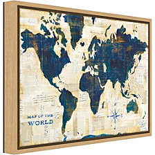 Amanti Art World Map Collage by Sue Schlabach Canvas Framed Art