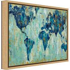 Amanti Art Map of the World by Silvia Vassileva Canvas Framed Art
