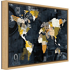 Amanti Art Golden World Map by Albena Hristova Canvas Framed Art