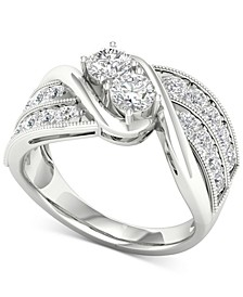 Diamond Two-Stone Swirl Engagement Ring (1-1/2 ct. t.w.) in 14k White Gold
