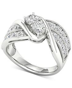 Diamond Two-Stone Swirl Engagement Ring (1-1/2 ct. t.w.