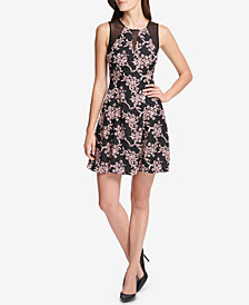 GUESS Printed Illusion-Trim Dress