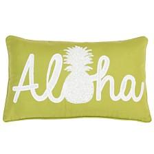 "Aloha Pineapple Script Faux Linen Pillow, 12"" x 20"""