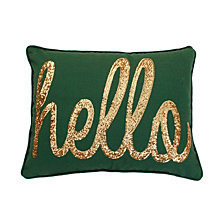 Hello Sequin Script Faux Linen Pillow