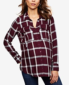 Maternity Plaid Button-Front Shirt