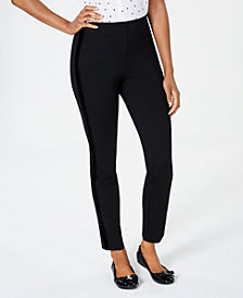 Charter Club Velvet-Trim Skinny Pants, Created for Macy's