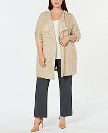 Calvin Klein Plus Size Wing-Collar Open-Front Cardigan