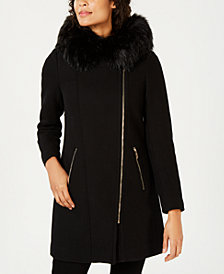 Calvin Klein Faux-Fur-Trim Hooded Asymmetrical Coat