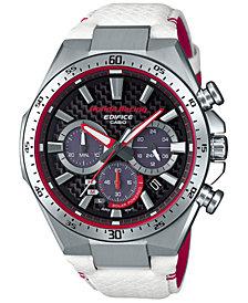 Men's Solar Chronograph Edifice Honda Racing White Leather Strap Watch 47.5mm