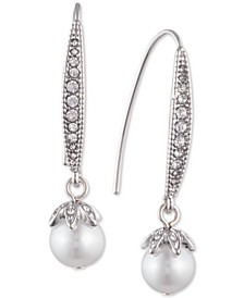 Pavé & Imitation Pearl Drop Earrings
