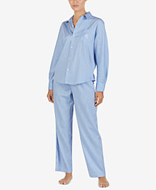 Lauren Ralph Lauren Printed Point-Collar Pajama Set