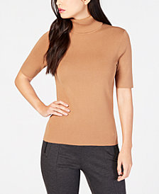 Anne Klein Short-Sleeve Turtleneck Sweater