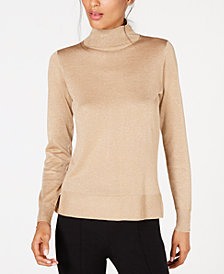 Anne Klein Metallic-Threaded Mock-Neck Sweater
