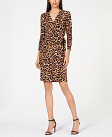 Anne Klein Animal-Print Faux-Wrap Dress