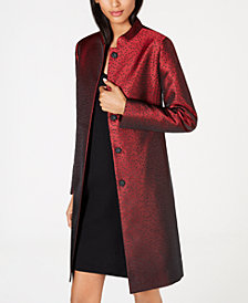Anne Klein Dot-Print Mandarin-Collar Jacket