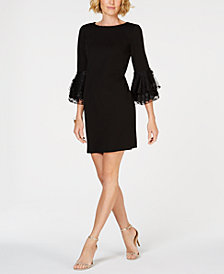 MSK Floral-Appliqué Bell-Sleeve Dress