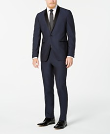 Kenneth Cole Reaction Men's Techni-Cole Slim-Fit Performance Stretch Blue Tuxedo