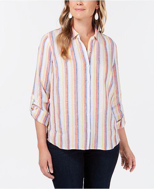 8b4256f0938bb ... Charter Club Petite Linen Striped Utility Shirt