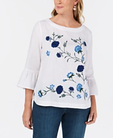 Charter Club Embroidered Bell-Sleeve Top, Created for Macy's