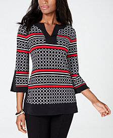 Charter Club Printed Split-Neck Tunic, Created for Macy's