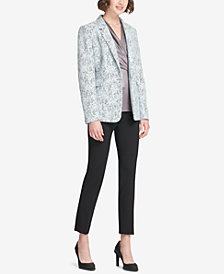 DKNY Bonded Lace Jacket, Skinny Pants & Ruched Top, Created for Macy's