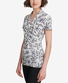 DKNY Printed Ruched-Side Top, Created for Macy's