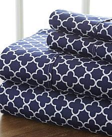 Home Collection Premium Ultra Soft Quadra foil Pattern 4 Piece Bed Sheet Set