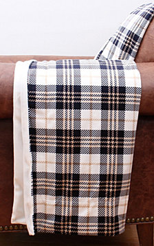 Penny Plaid Printed Micromink Decorative Throw Micromink Back