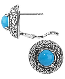 Carolyn Pollack Turquoise Button Rope Earrings in Sterling Silver