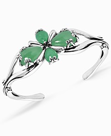 Carolyn Pollack Green Jade Cuff Bracelet in Sterling Silver