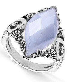 Carolyn Pollack Blue Lace Agate (11x23mm) Marquis Ring in Sterling Silver