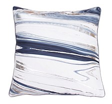 "Feather Fill Kia Marble Raised Foil Pillow, 20"" x 20"""