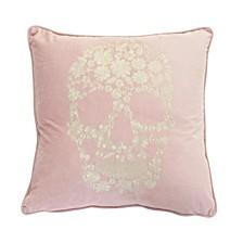 """Polyester Fill Sammy Skull Metallic Embroidered Velvet Pillow, 18"""" x 18"""""""