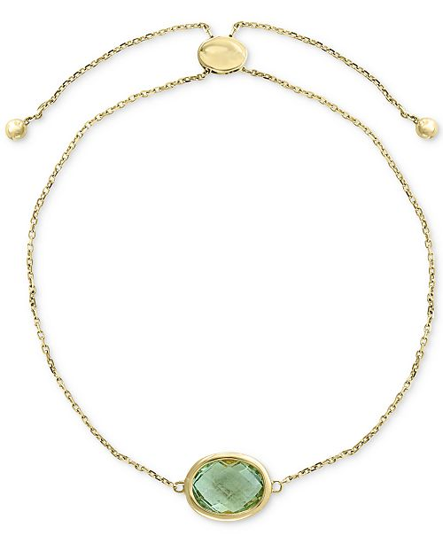 EFFY Collection EFFY® Green Quartz  (2-3/4 ct. t.w.) Bolo Bracelet in 14k Gold