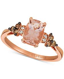 Le Vian® Peach Morganite (1 ct. t.w.) & Chocolate and Vanilla Diamond (1/6 ct. t.w.) Ring in 14k Rose Gold