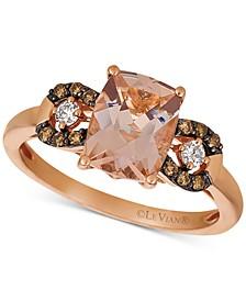 Peach Morganite (1-1/2 ct. t.w.) & Chocolate and Vanilla Diamond (1/5 ct. t.w.) Ring in 14k Rose Gold