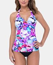 65f8e34bc2684 Profile by Gottex Printed Tankini Top & High-Waist Bikini Bottoms
