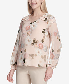 Calvin Klein Printed Ruffled-Shoulder Top