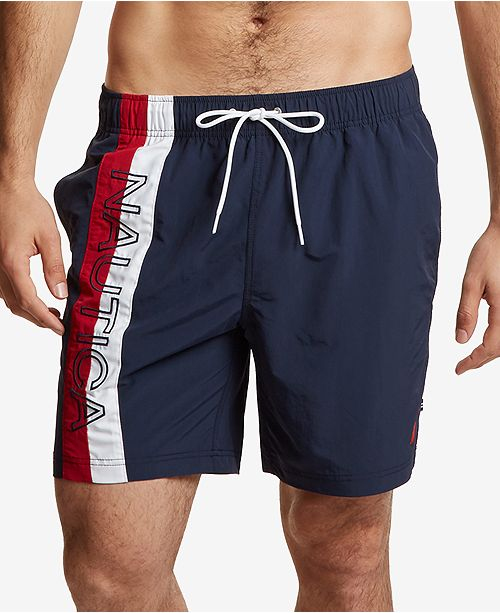 Nautica Mens Big and Tall Surfwashed Colorblocked Swim Trunks
