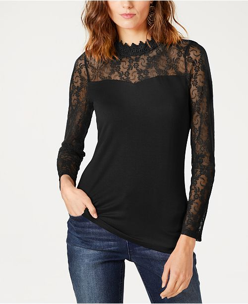 INC International Concepts INC Lace-Yoke Top, Created for Macy's