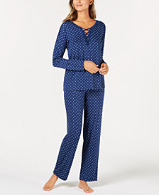 Alfani Lace-Up Printed Knit Pajama Set, Created for Macy's