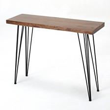Chana Industrial Faux Live Edge Rectangular Bar Table, Natural