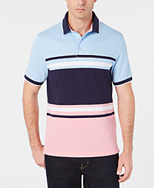 Club Room Men's Regular-Fit Stretch Colorblocked Stripe Polo, Created for Macy's