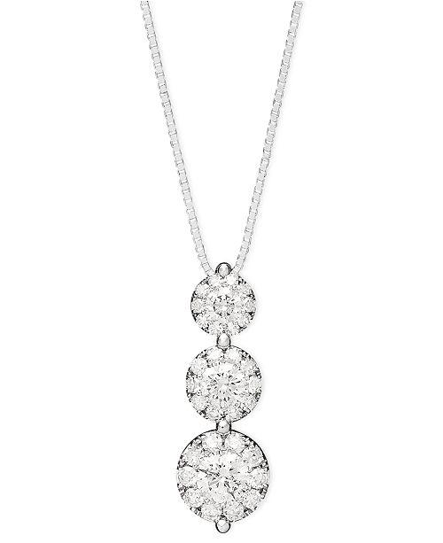 Macys diamond three stone drop pendant necklace in 14k white gold main image aloadofball Images