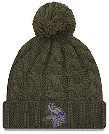 New Era Women's Minnesota Vikings Salute To Service Pom Knit Hat