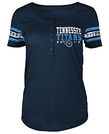 5th & Ocean Women's Tennessee Titans Short Sleeve Button Down T-Shirt