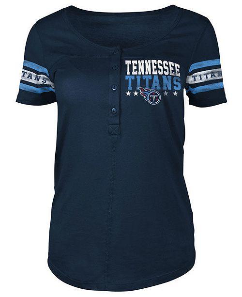 5th & Ocean Women's Tennessee Titans Short Sleeve Button Down T-Shirt