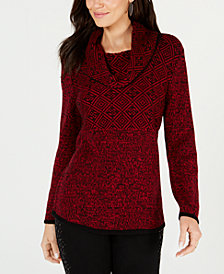 Style & Co Petite Mixed-Pattern Cowl-Neck Sweater, Created for Macy's