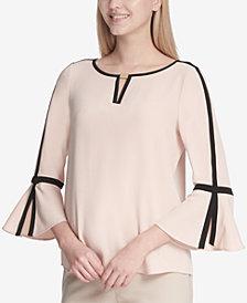 Calvin Klein Contrast-Trim Bell-Sleeve Top